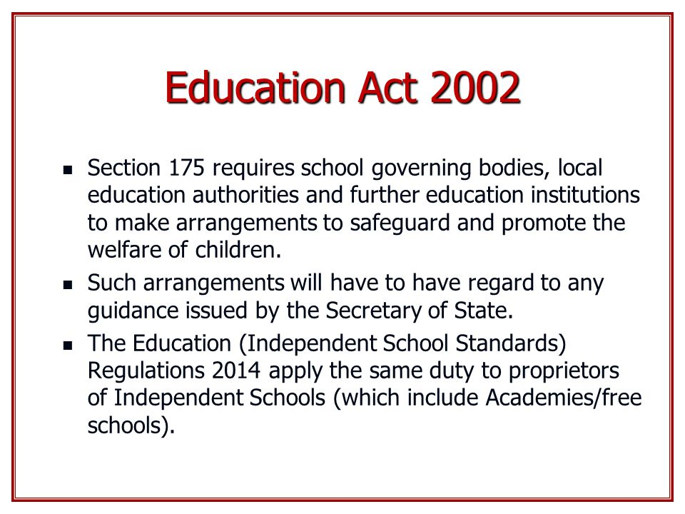 the education act 2002 This revised act is an administrative consolidation of the education act 1998   ombudsman for children act 2002 (22/2002) • children act 2001 (24/2001.