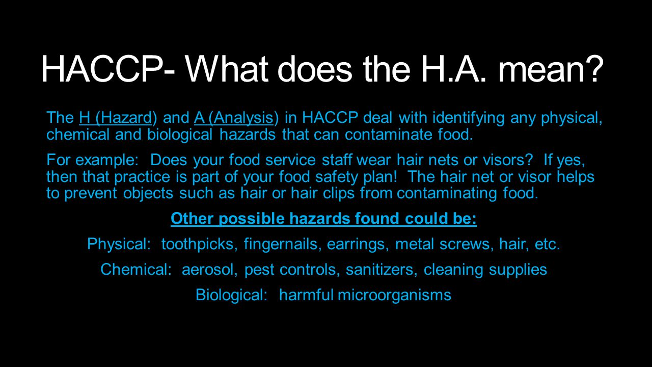 HACCP- What does the H.A. mean