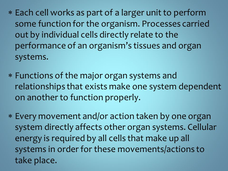introduction to systems in the body A system is an organization of varying numbers and kinds of organs so arranged that together they can perform complex functions for the body ten major systems include the skeletal, muscular, nervous, endocrine, cardiovascular, lymphatic, respiratory, digestive, urinary, and the reproductive system.