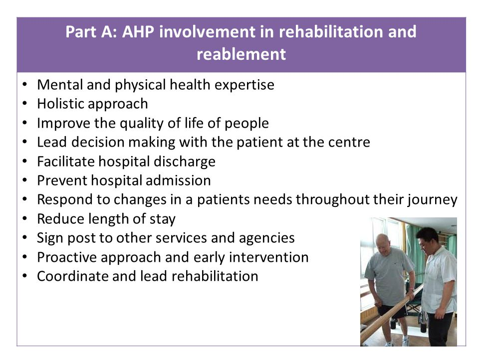 Part A: AHP involvement in rehabilitation and reablement