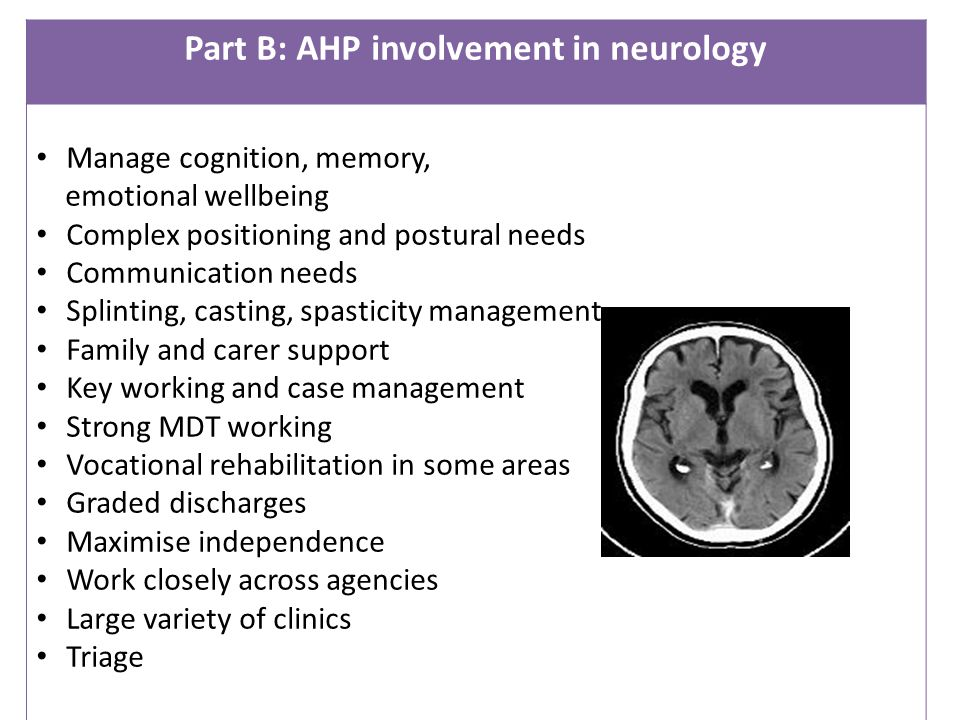 Part B: AHP involvement in neurology