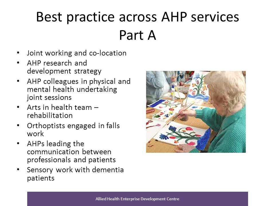 Best practice across AHP services Part A