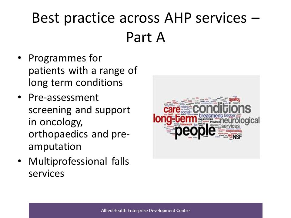 Best practice across AHP services – Part A