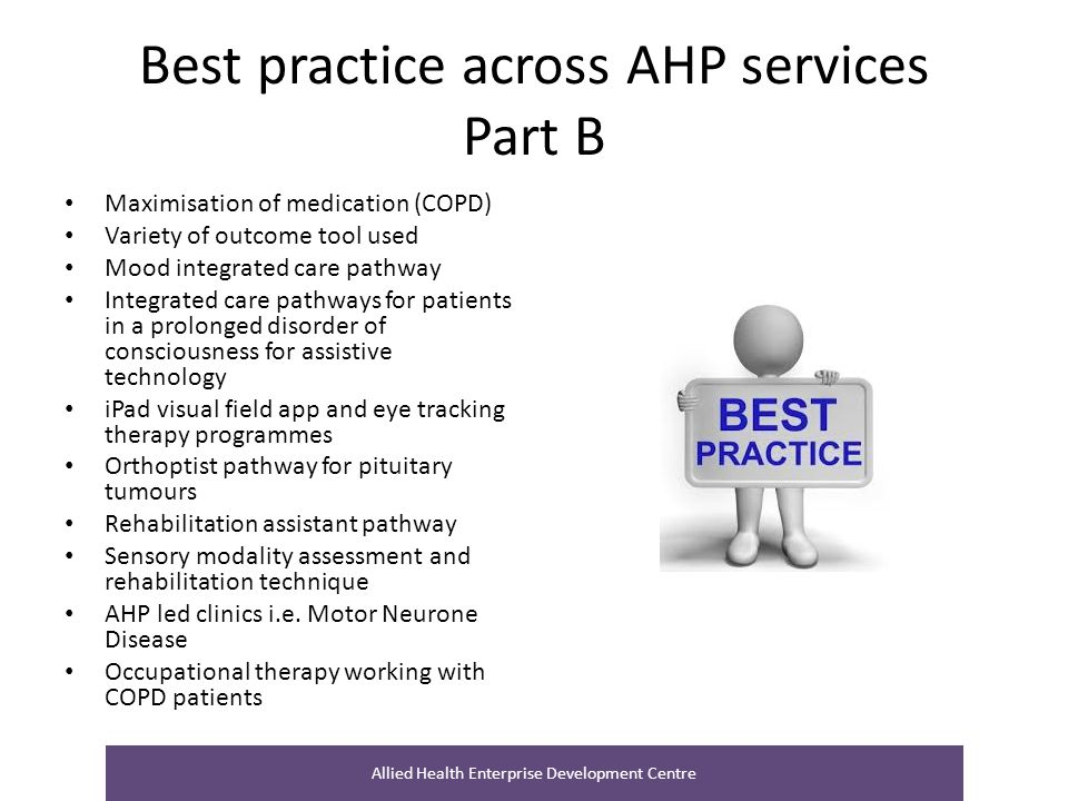 Best practice across AHP services Part B