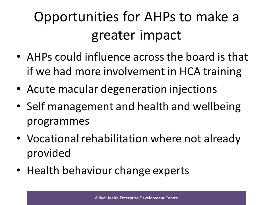 Opportunities for AHPs to make a greater impact