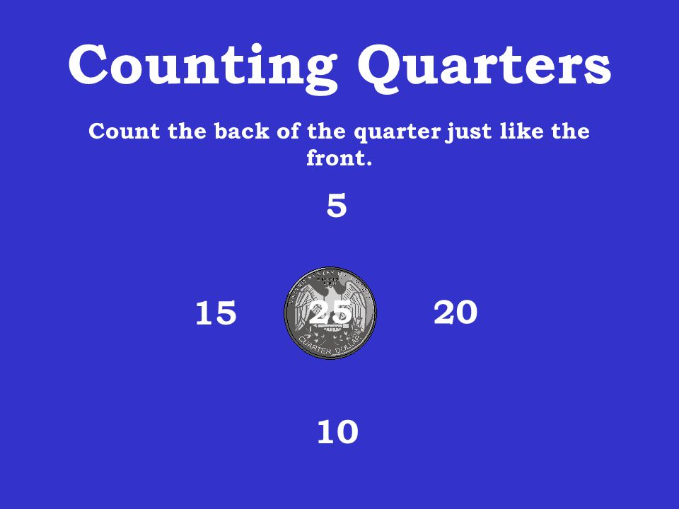 Count the back of the quarter just like the front.