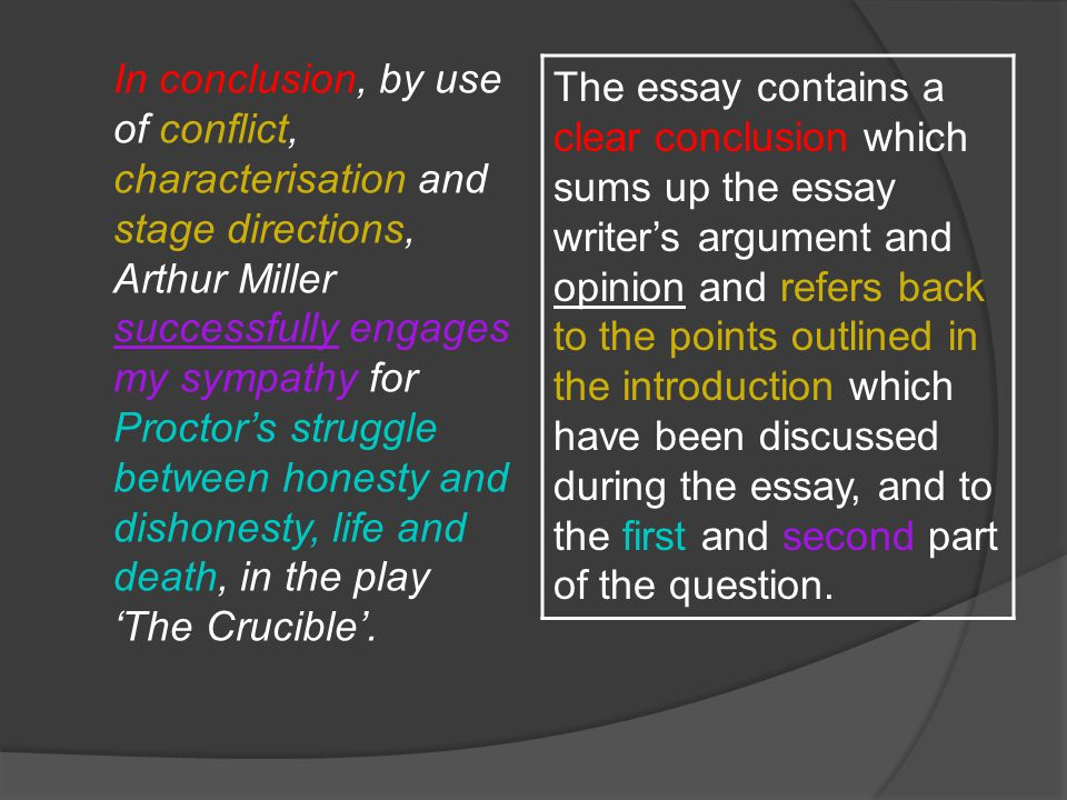 sample essay the crucible ppt video online  23 in conclusion