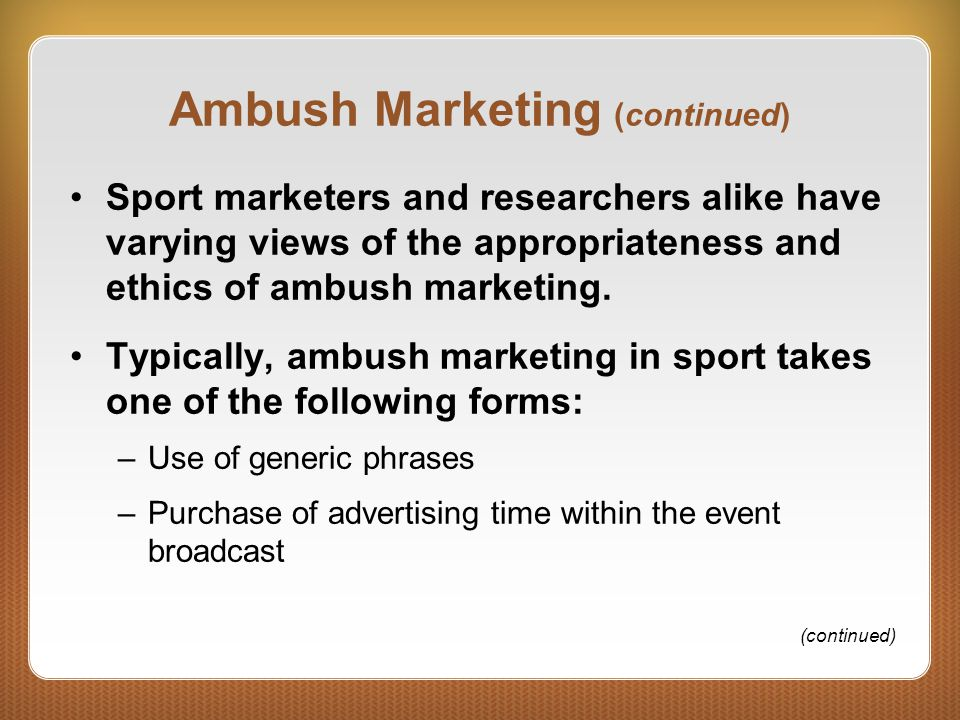 Ambush marketing is it ethical