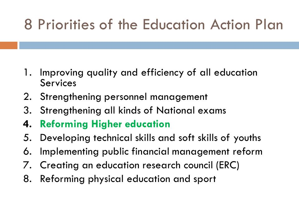 8 Priorities of the Education Action Plan