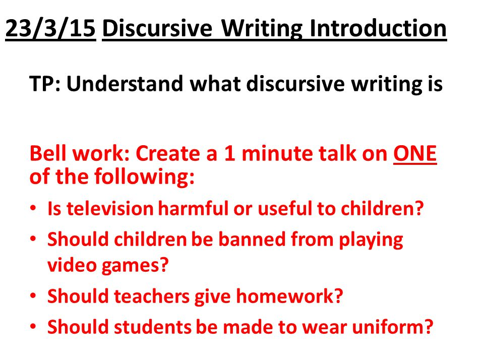 Persuasive writing should homework banned