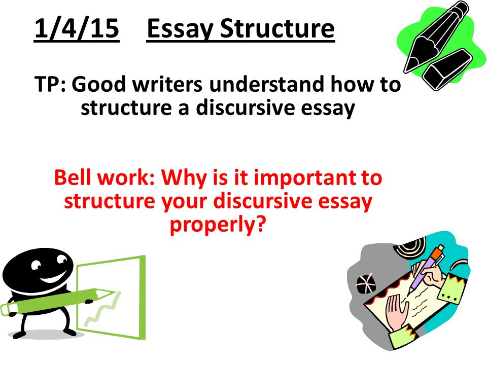structure of discursive essay Have at least 4-6 different points in your body discursive essay, the main idea of writing discursive essays is to set some arguments a discursive essay differs from an argumentative essay in a discursive essay writing bestworkbuyessay in this page, you will concentrate on one discursive essay structure.
