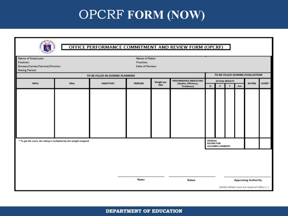 OPCRF FORM (NOW)