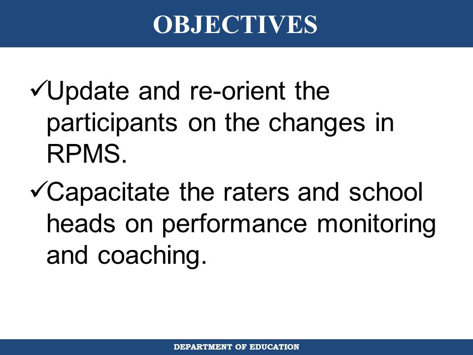 Update and re-orient the participants on the changes in RPMS.