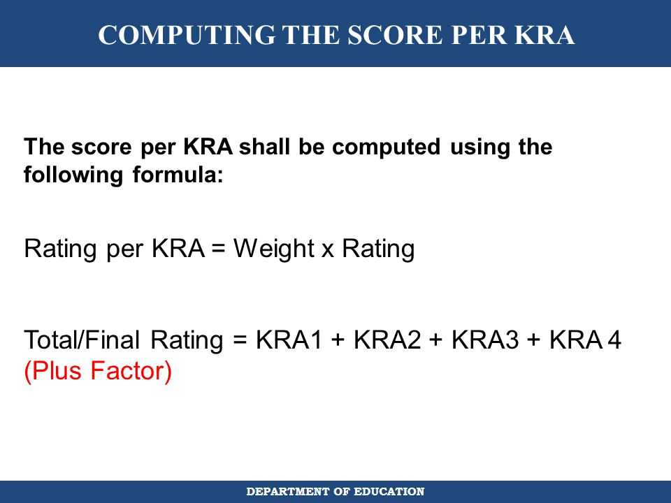 COMPUTING THE SCORE PER KRA