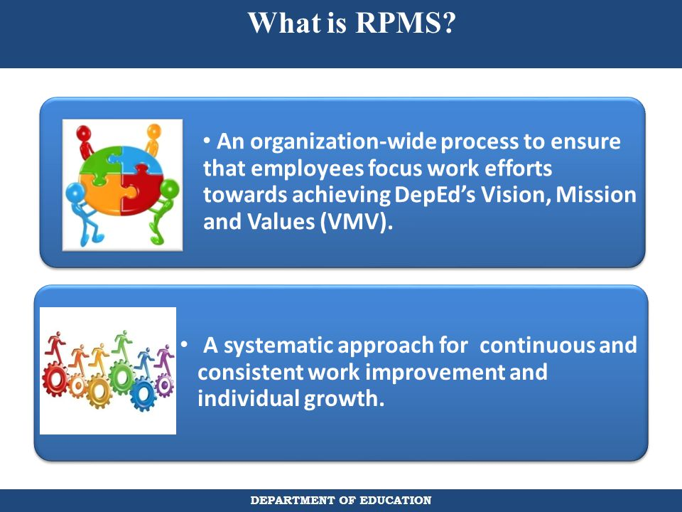 What is RPMS An organization-wide process to ensure that employees focus work efforts towards achieving DepEd's Vision, Mission and Values (VMV).