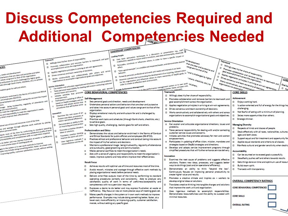Discuss Competencies Required and Additional Competencies Needed