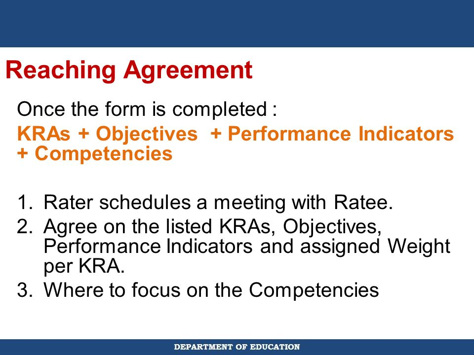 Reaching Agreement Once the form is completed :