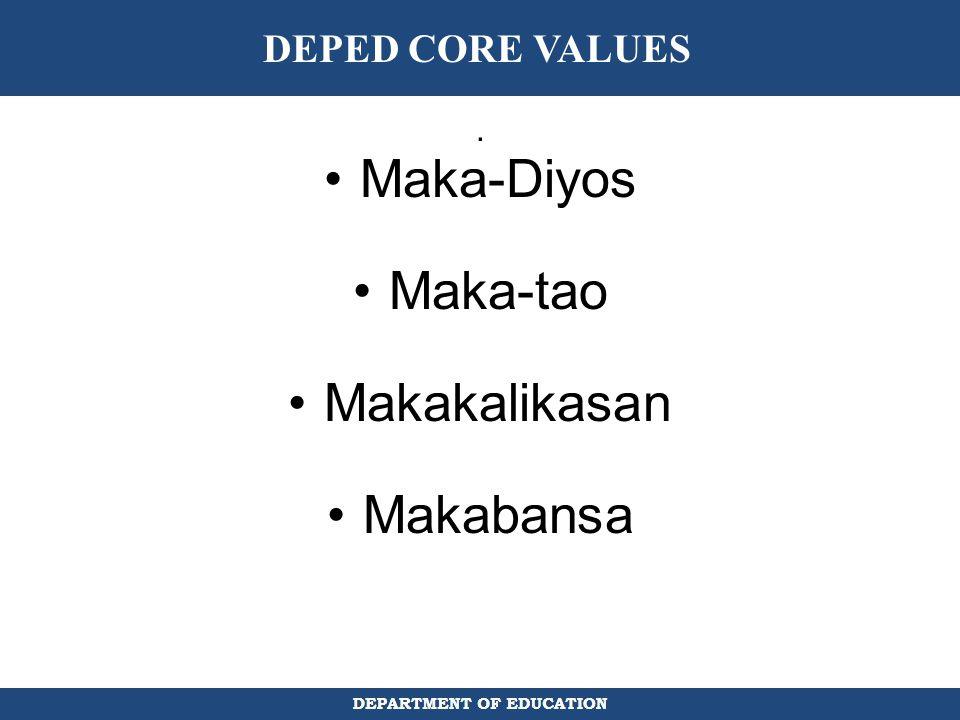 DEPED CORE VALUES . Maka-Diyos Maka-tao Makakalikasan Makabansa