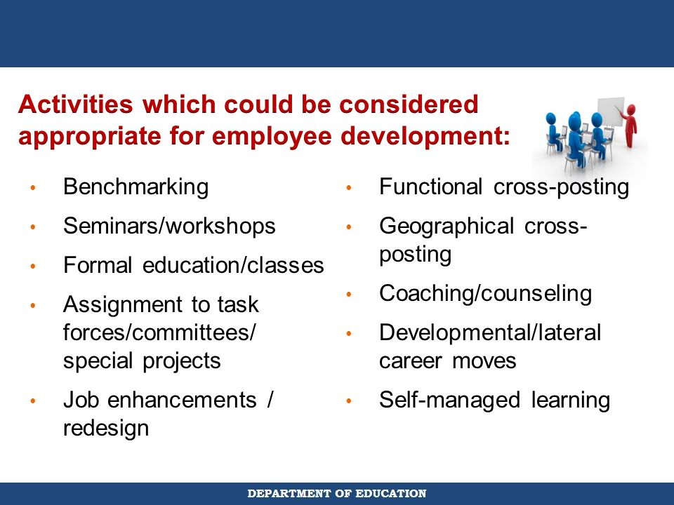 Activities which could be considered appropriate for employee development:
