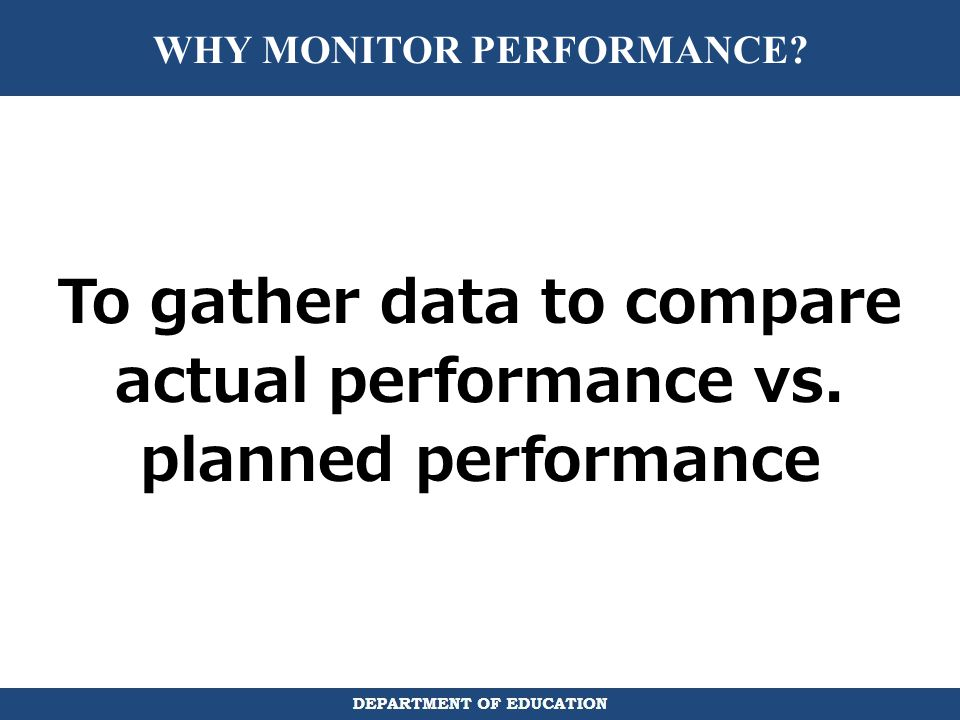 WHY MONITOR PERFORMANCE