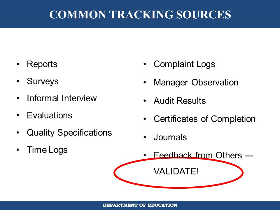COMMON TRACKING SOURCES
