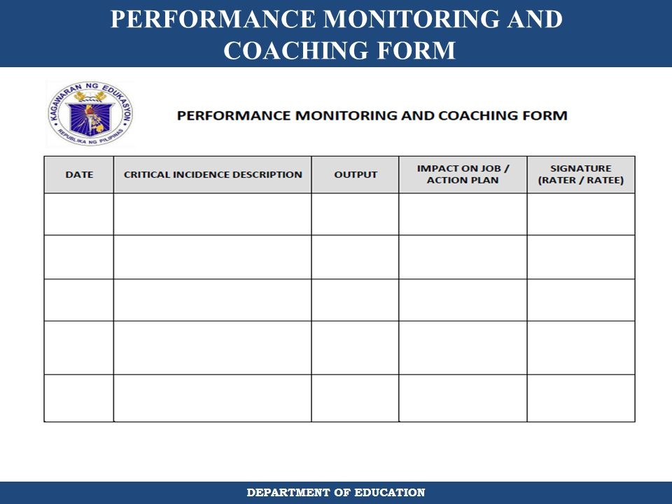 PERFORMANCE MONITORING AND COACHING FORM