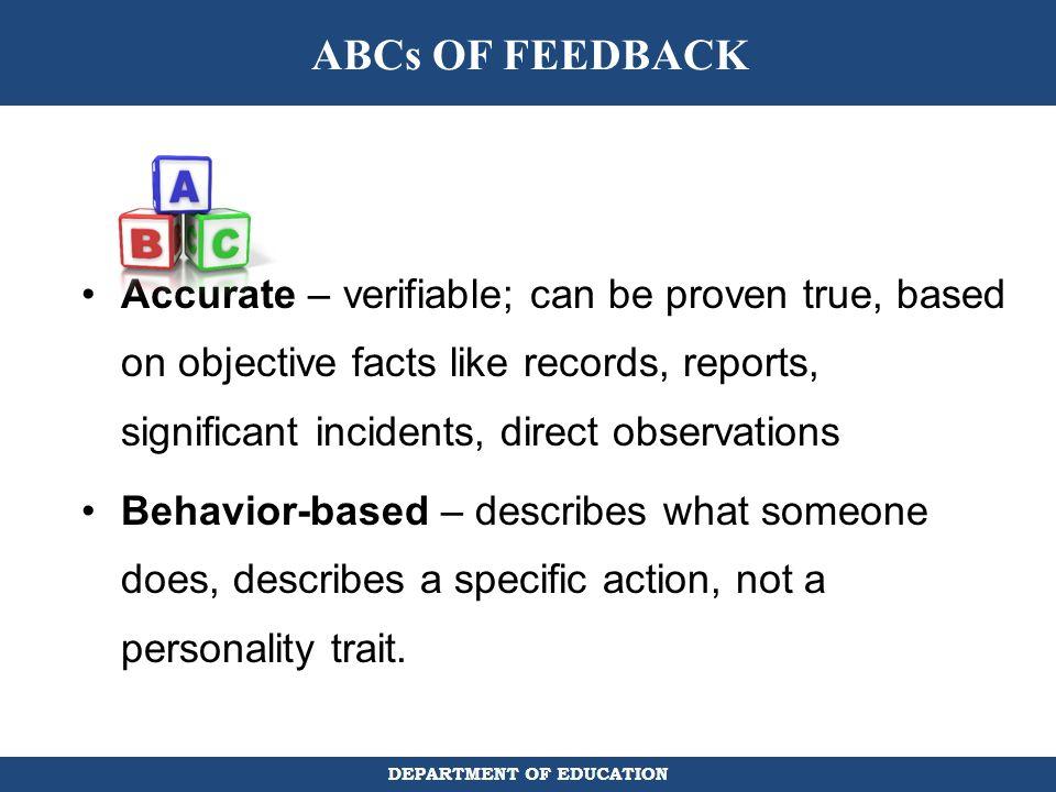 ABCs OF FEEDBACK
