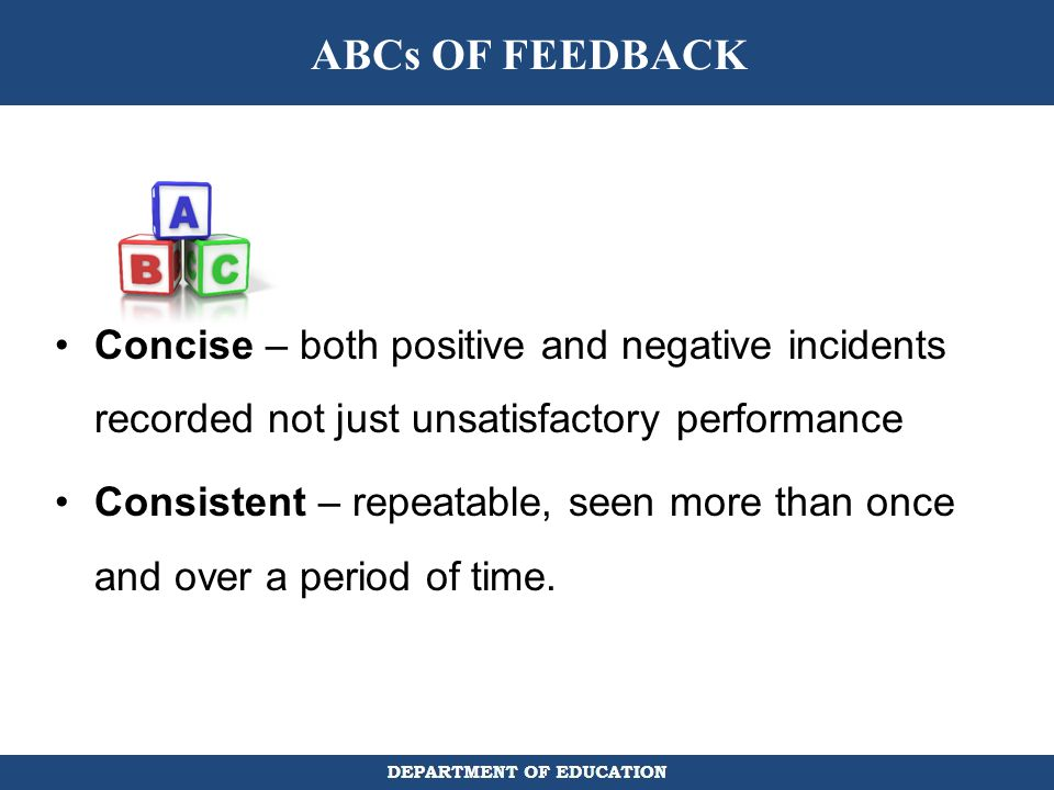 ABCs OF FEEDBACK Concise – both positive and negative incidents recorded not just unsatisfactory performance.