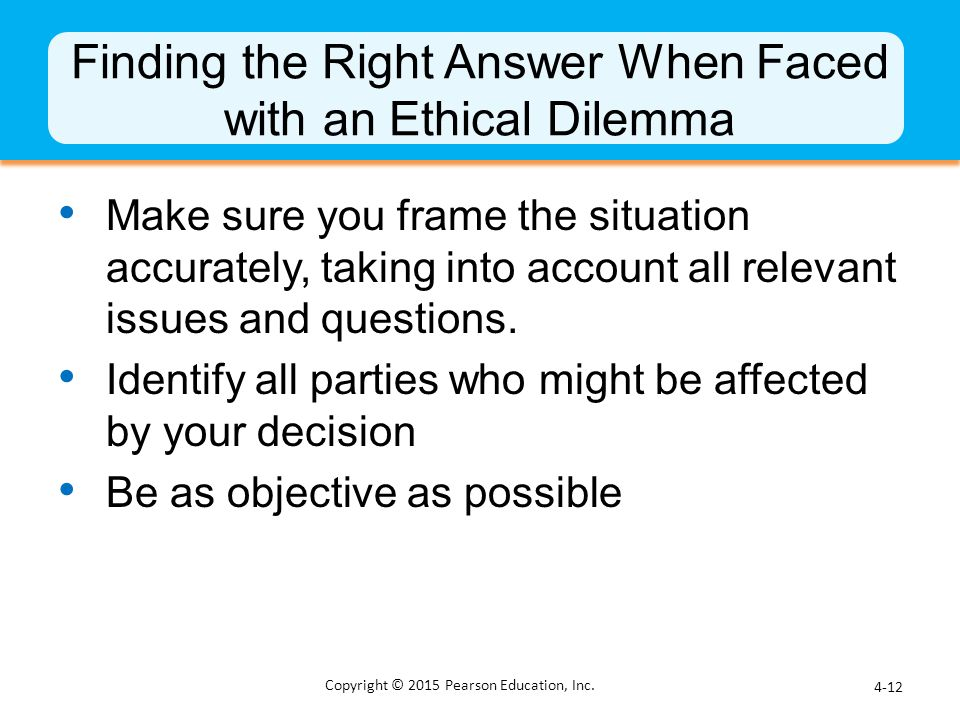 Finding the Right Answer When Faced with an Ethical Dilemma