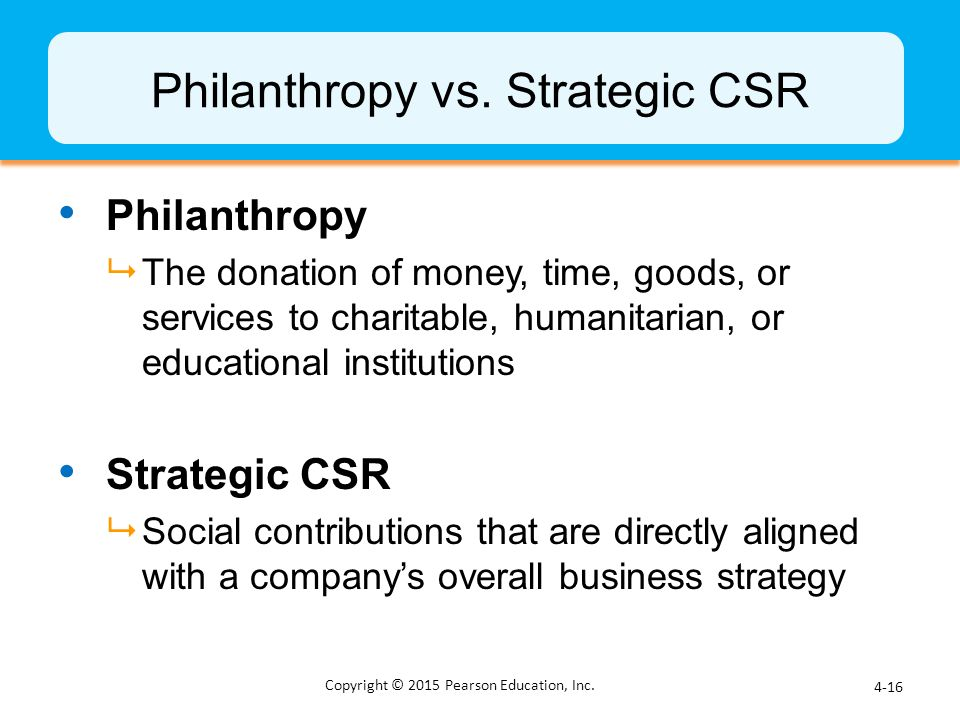 Philanthropy vs. Strategic CSR