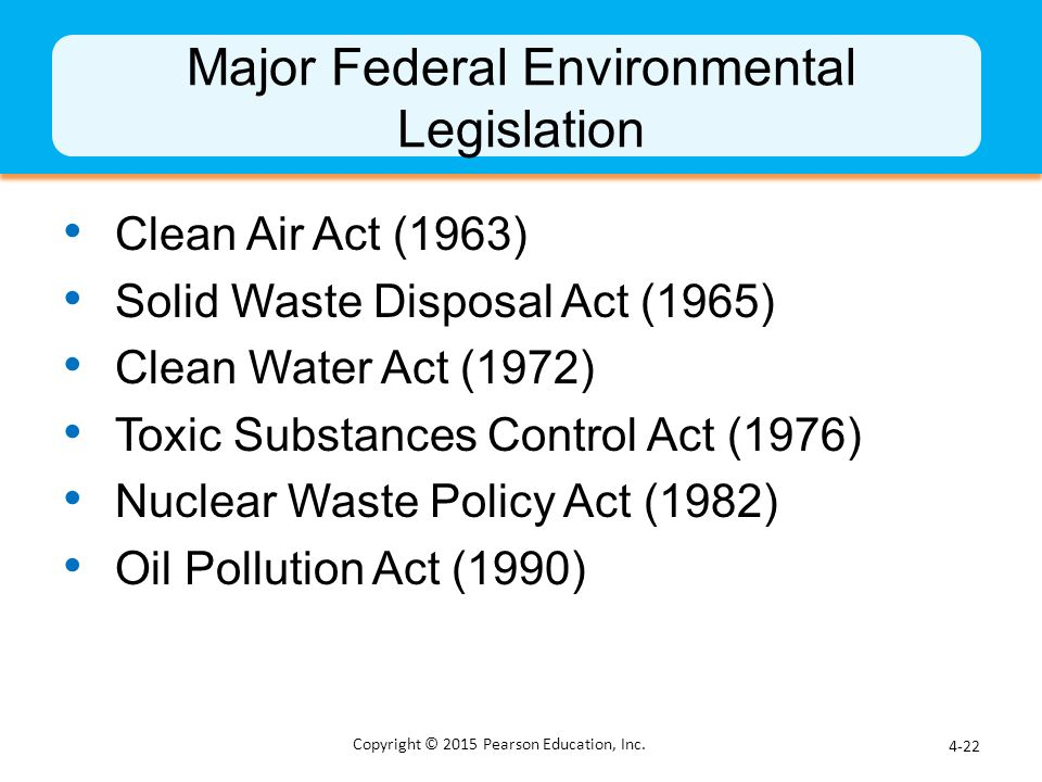Major Federal Environmental Legislation