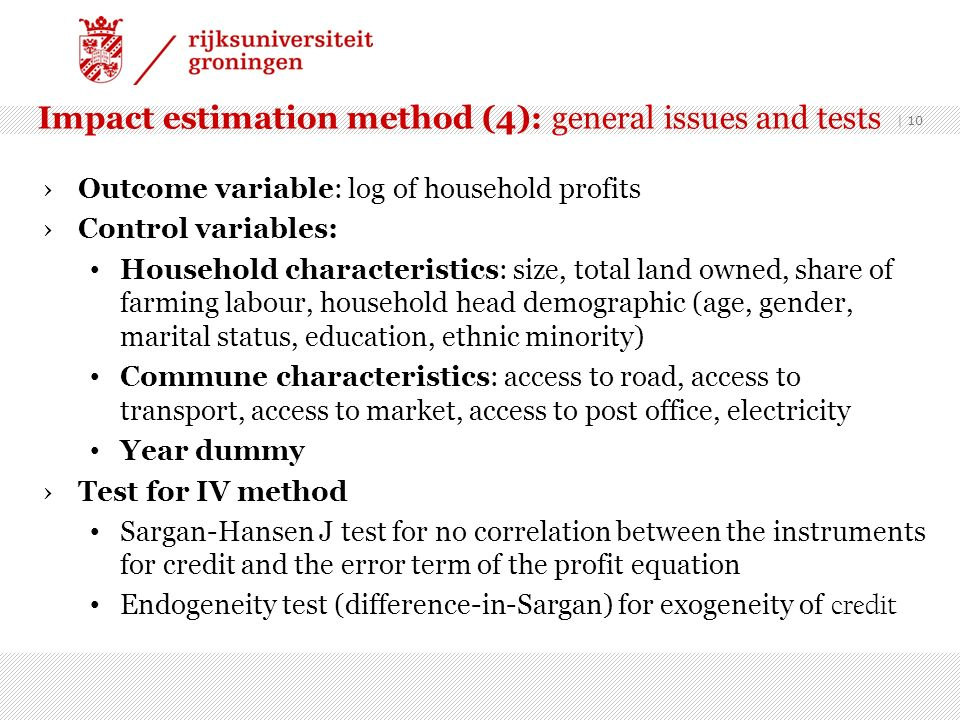 Impact estimation method (4): general issues and tests