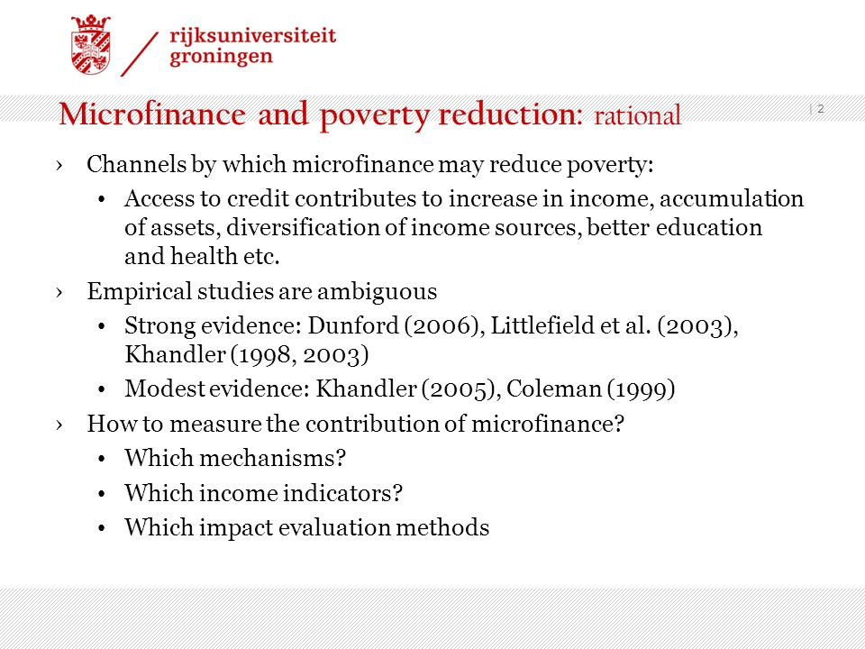 Microfinance and poverty reduction: rational