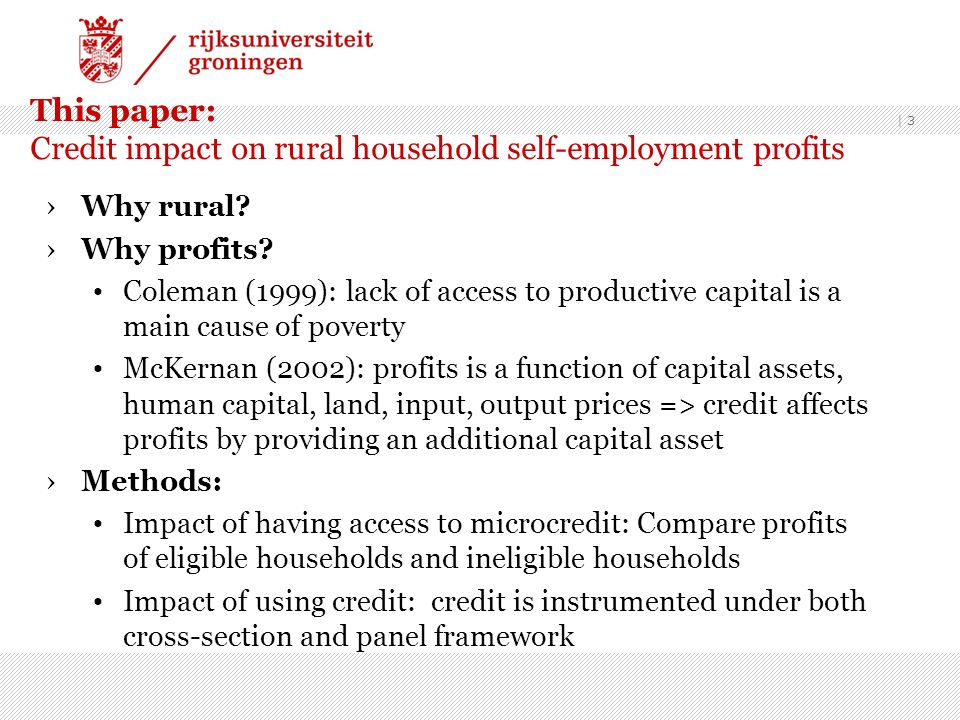 This paper: Credit impact on rural household self-employment profits