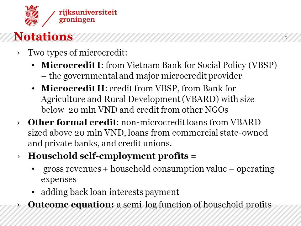 Notations Two types of microcredit: