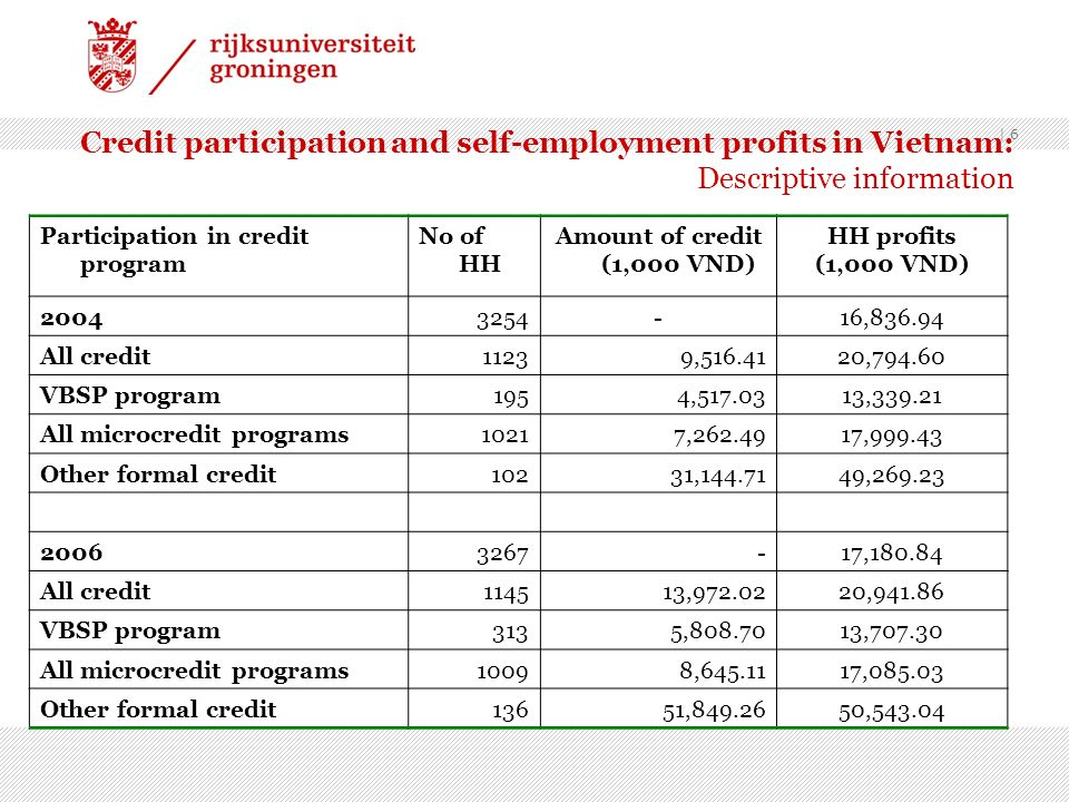 Credit participation and self-employment profits in Vietnam: Descriptive information