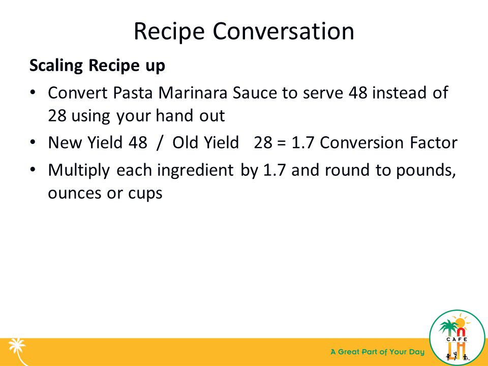 Basic kitchen math recipe conversion training for food services 6 recipe conversation forumfinder Choice Image