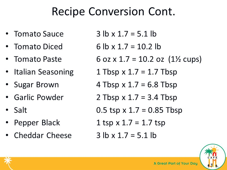 Basic kitchen math recipe conversion training for food services 7 recipe conversion cont forumfinder Choice Image