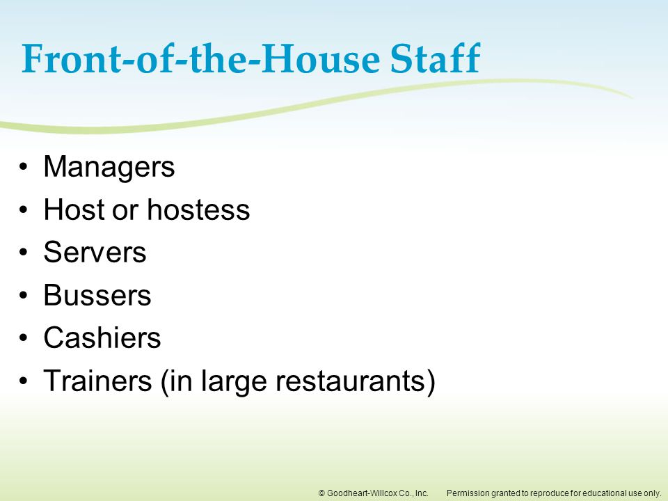 Front-of-the-House Staff