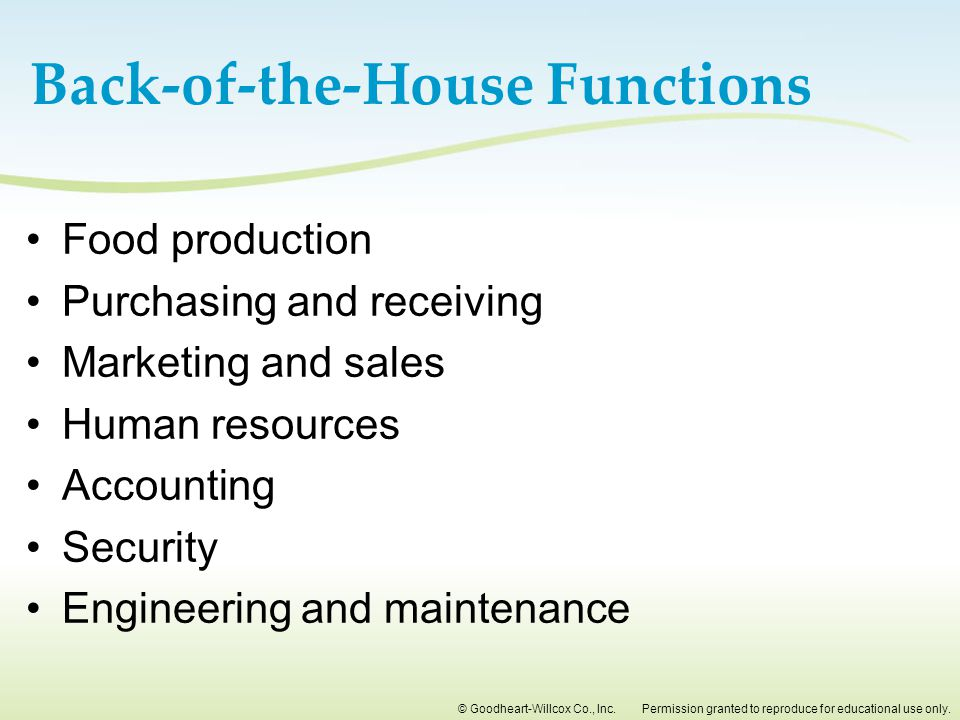Back-of-the-House Functions