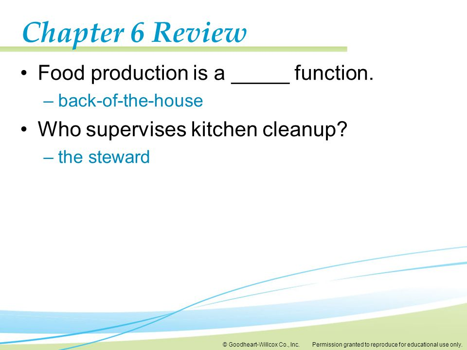Chapter 6 Review Food production is a _____ function.