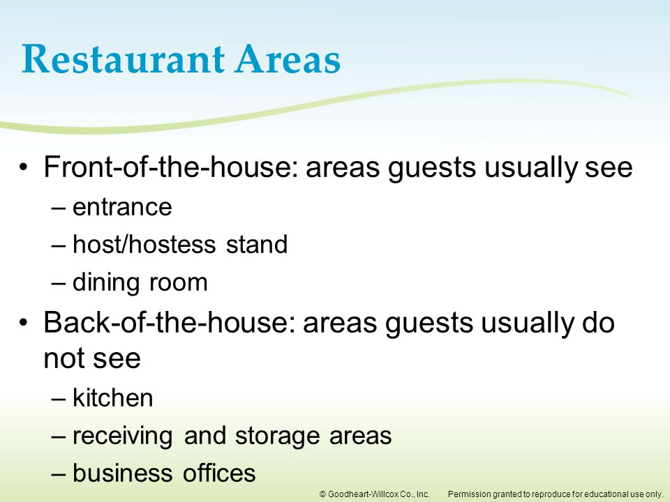 Restaurant Areas Front-of-the-house: areas guests usually see