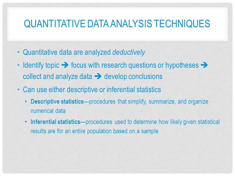 data analysis techniques for quantitative research Definition: quantitative methods are research techniques that are used to gather quantitative data — information dealing with numbers and anything that is.