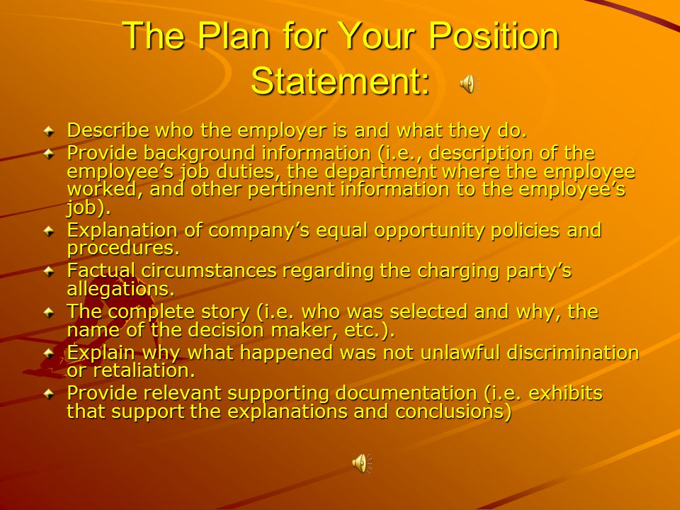 The Plan for Your Position Statement: