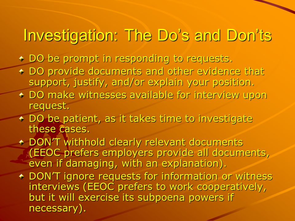 Investigation: The Do's and Don'ts