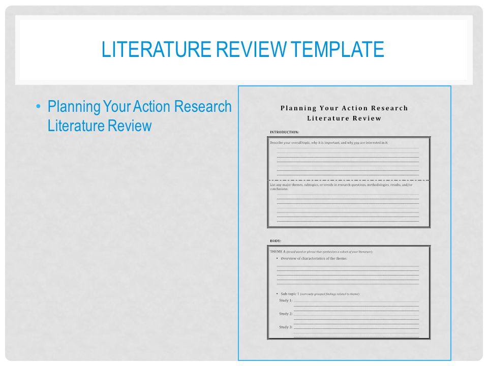 Planning for action research ppt download for Literature review template doc