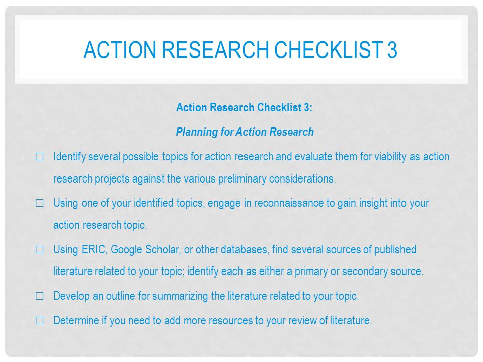 action research topics Action research tool kit, p 2 action research is different from quantitative research action research does not: • require formal research design.