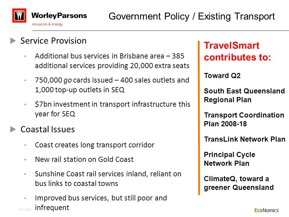 Government Policy / Existing Transport