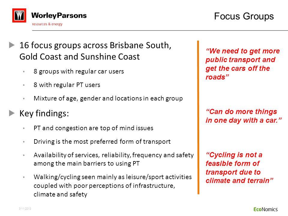 16 focus groups across Brisbane South, Gold Coast and Sunshine Coast