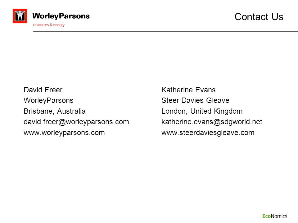Contact Us WorleyParsons Steer Davies Gleave
